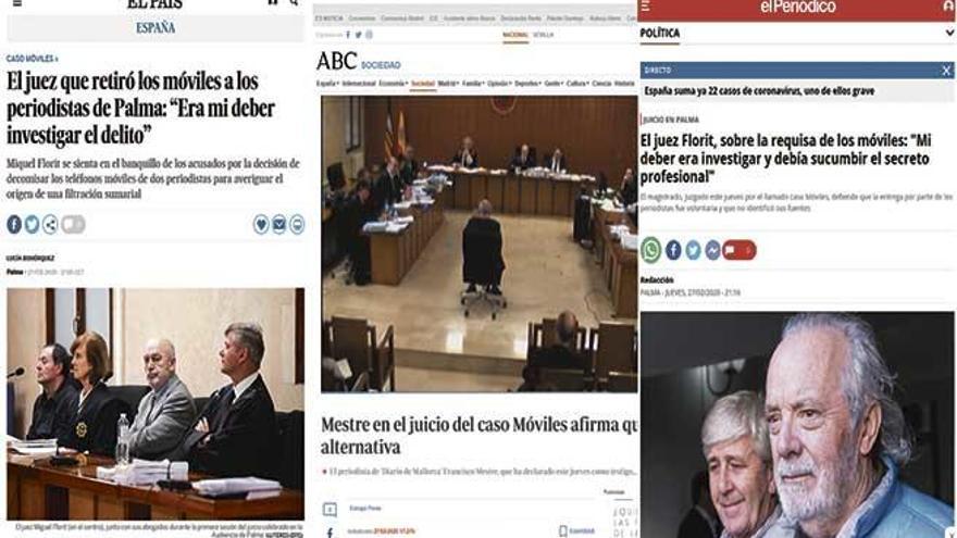 Los principales periódicos del país se hacen eco del juicio