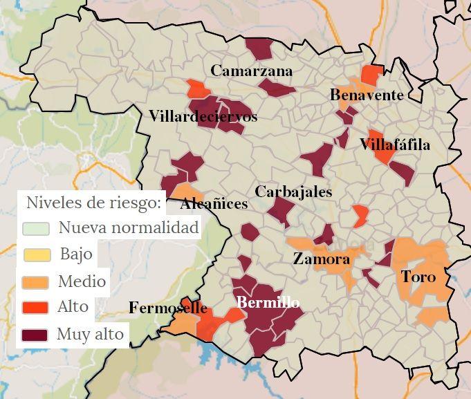 Mapa de contagios COVID por municipios en Zamora