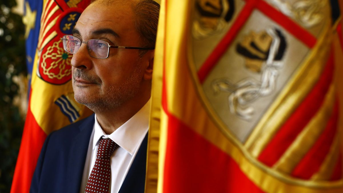 Javier Lambán, presidente del Gobierno de Aragón, esta semana en la Sala de Columnas del edificio Pignatelli.