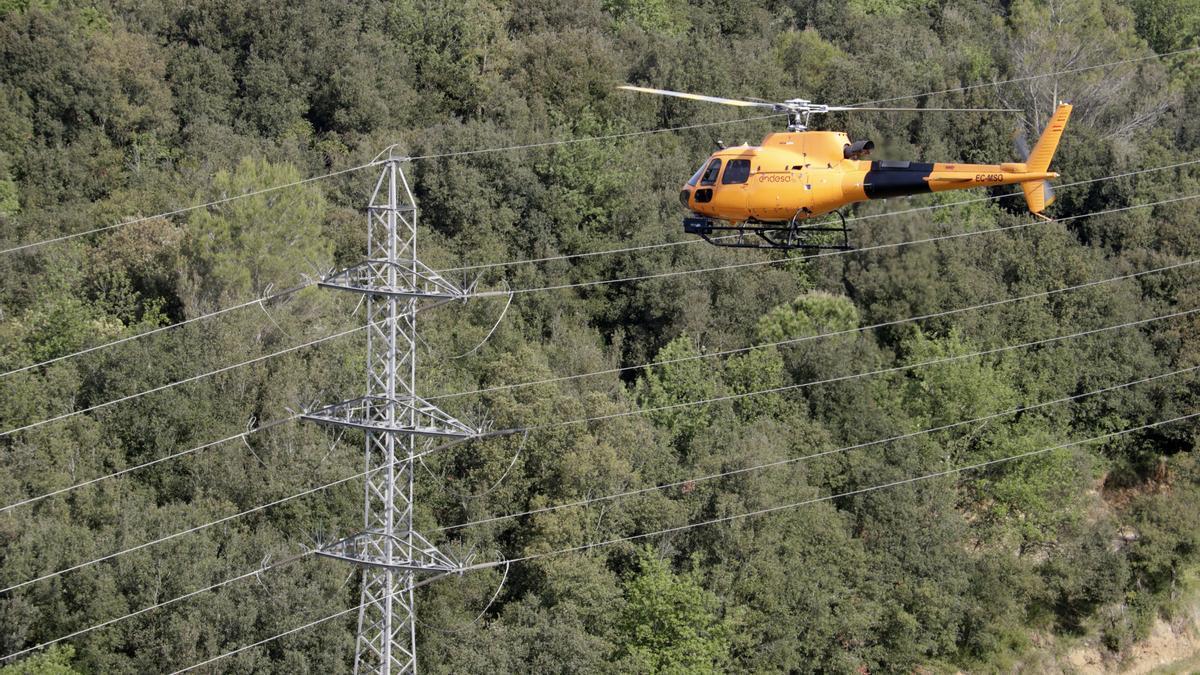 Helicòpter d'Endesa revisant un punt de la xarxa elèctrica a Sant Gregori.