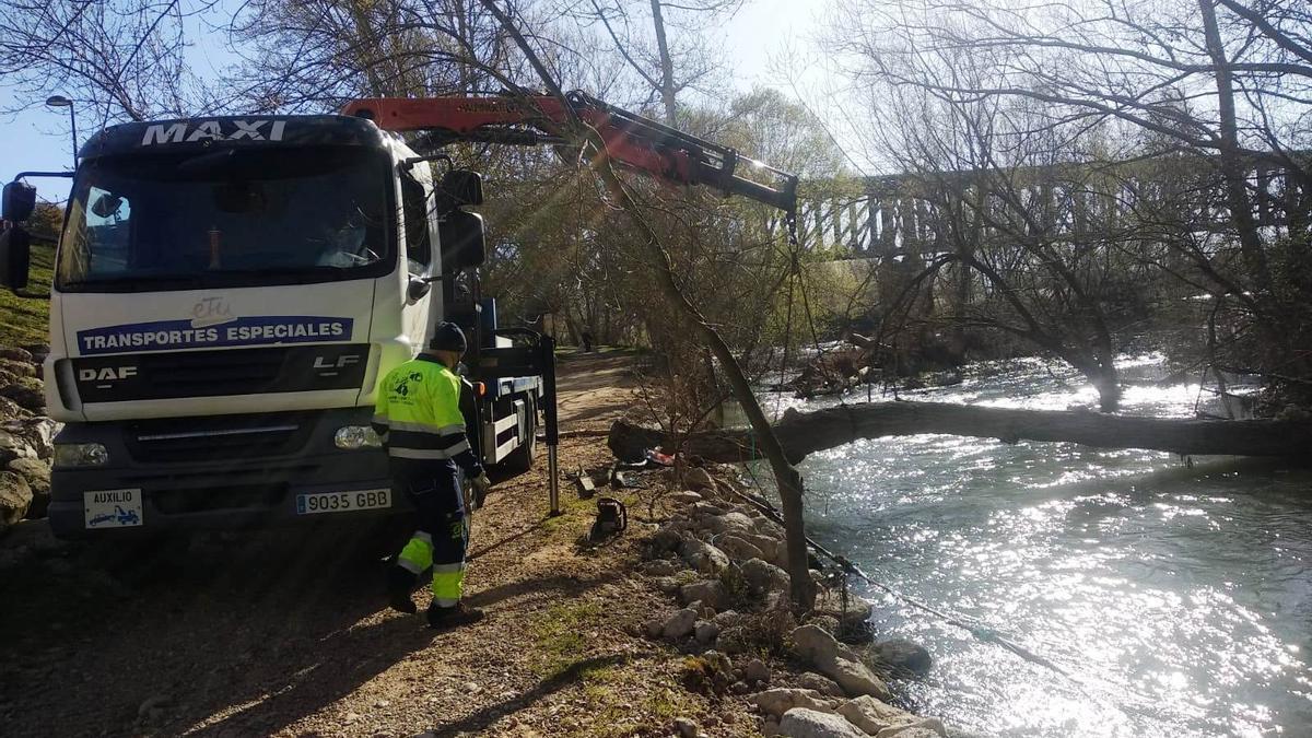 Limpieza del cauce del río Duero.