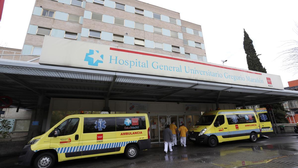 Several ambulances at the Gregorio Marañón Hospital, in Madrid
