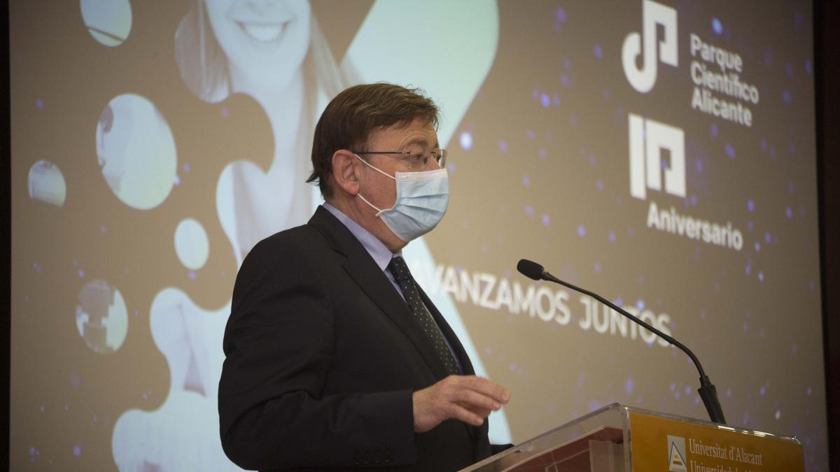 Ximo Puig en su intervención en el décimo aniversario del Parque Científico de Alicante