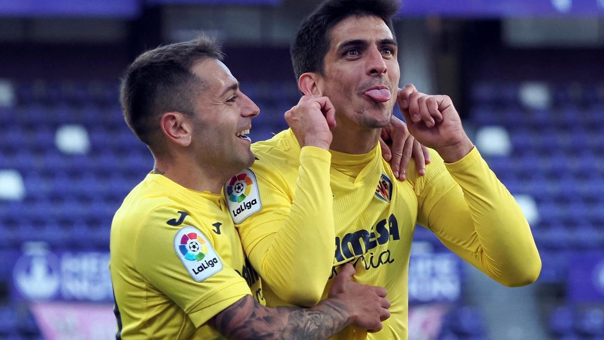 Gerard Moreno celebra el primer gol del Villarreal en Valladolid.