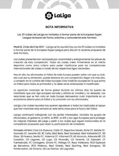 LaLiga pide a Real Madrid y Barça que desistan.