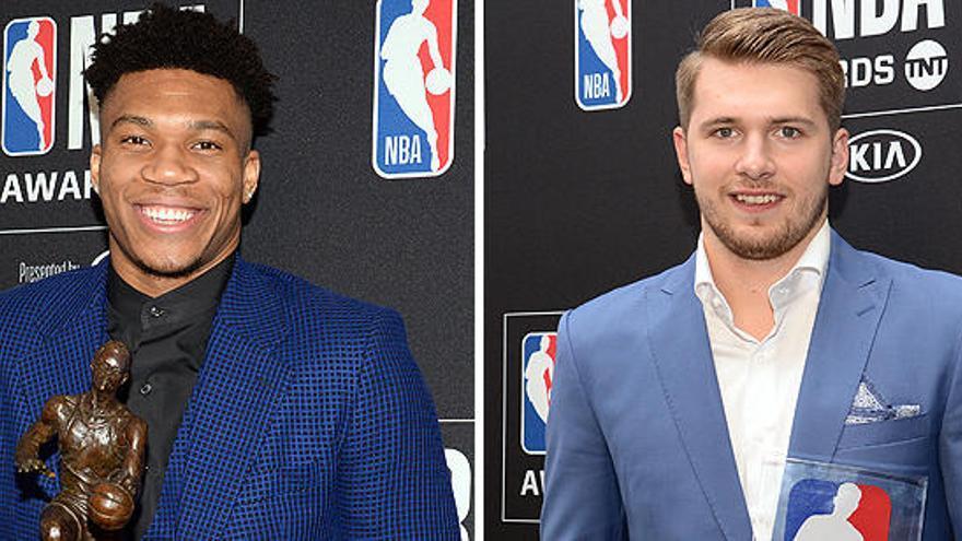 Giannis Antetokounmpo y Luka Doncic, Mejor Jugador y Rookie del Año en la NBA