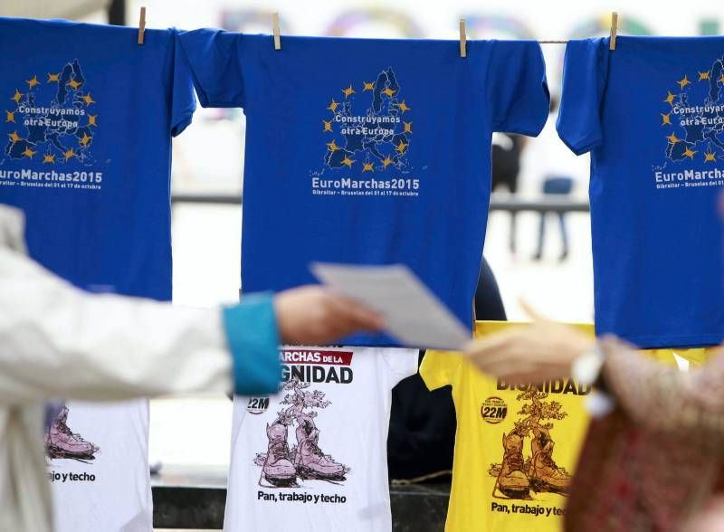 Parada de las Euromarchas en Zaragoza
