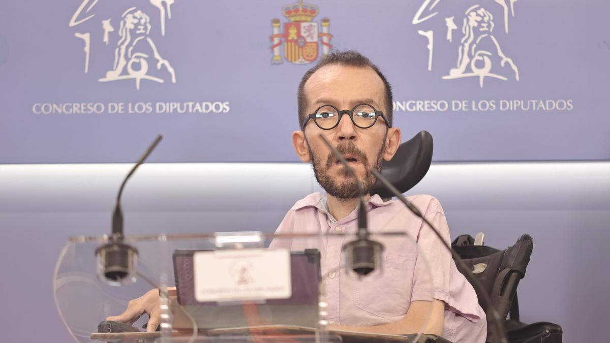 El portavoz parlamentario de Unidas Podemos, Pablo Echenique.