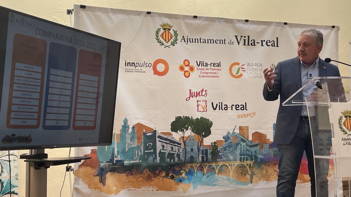 Serralvo, en un momento del repaso de la comparativa de la situación deportiva de la ciudad entre el 2011 y el 2021.