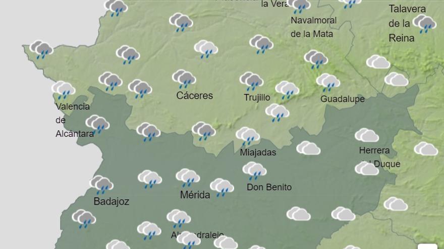Lluvias en el norte de Cáceres y sur de Badajoz durante el fuente de Todos los Santos