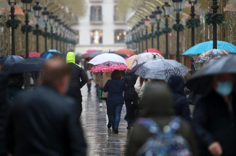 Lluvia en Málaga con la llegada de la borrasca Filomena.