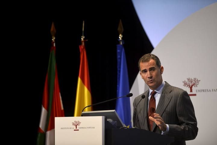 Spain's King Felipe delivers a speech during the opening of the National Congress of Family Businesses at the Palacio Euskaldun in Bilbao