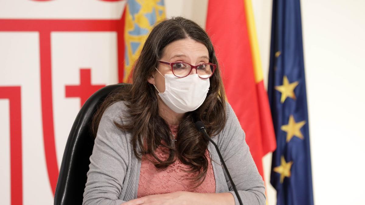 Mónica Oltra, durante una rueda de prensa.