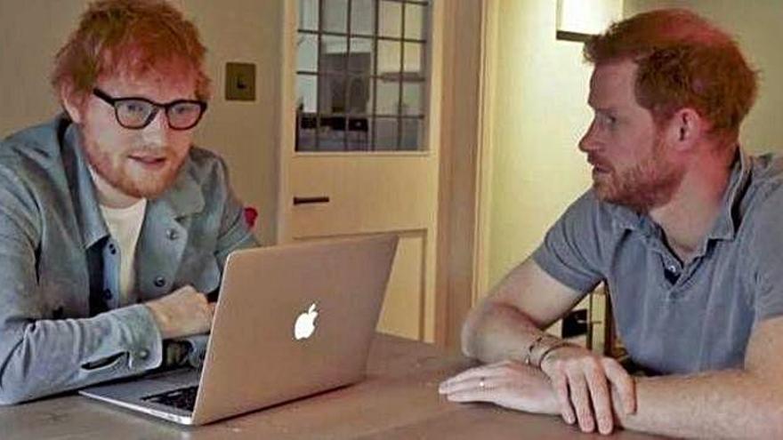 El príncipe Enrique y Ed Sheeran, unidos