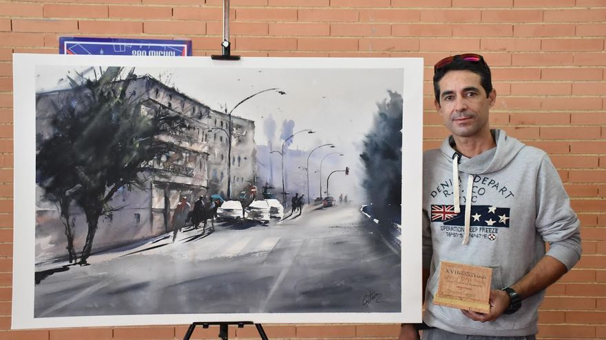 Gustavo Hernández, ganador del Premio de Pintura Rápida Godofredo Ortega Muñoz de San Vicente de Alcántara