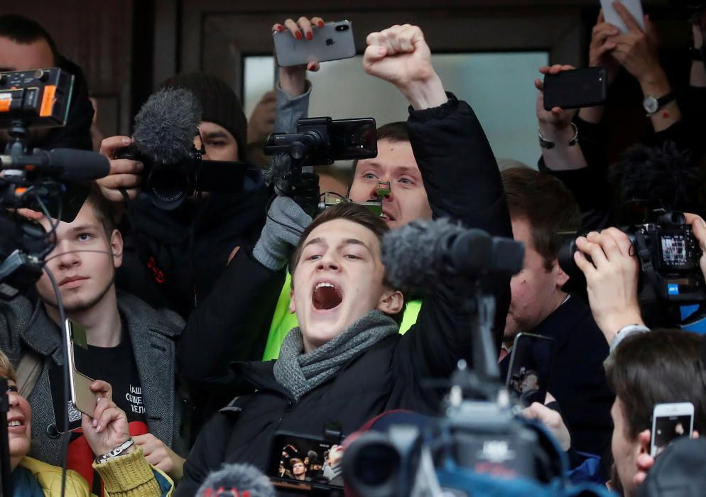 Russian protester Zhukov reacts after a court ...