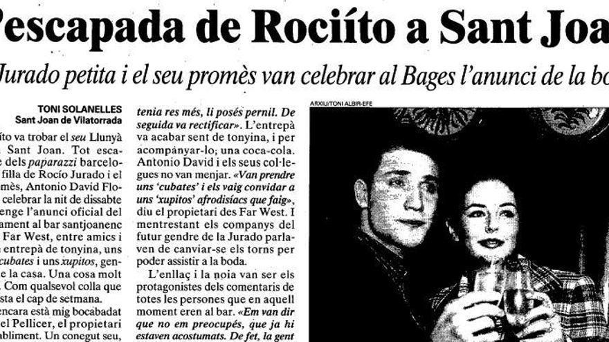 El dia que Rociíto i Antonio David van anunciar el seu casament en un bar de Sant Joan