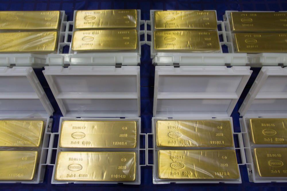 Lingots d'or a Rússia. El metall segueix augmentant la cotització