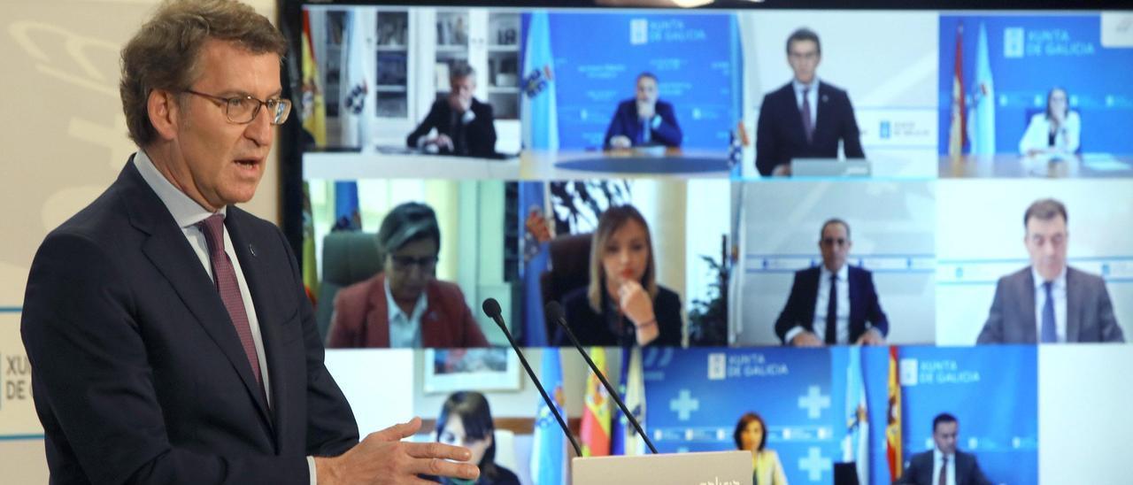 Feijóo durante la rueda de prensa posterior al Consello de la Xunta