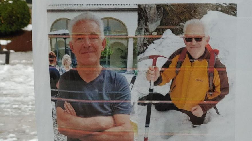 Cartel distribuido por la comarca de Jaca con fotos del montañero desaparecido, en diciembre del año pasado.