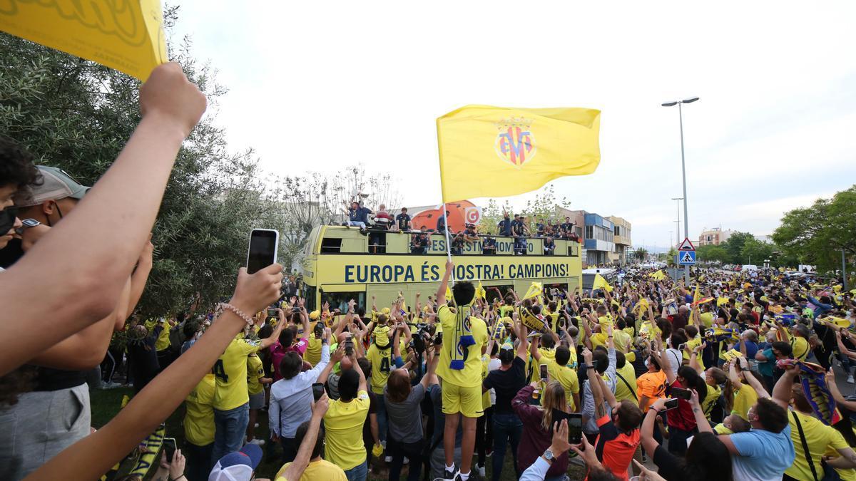 Celebraciones del Villarreal este jueves
