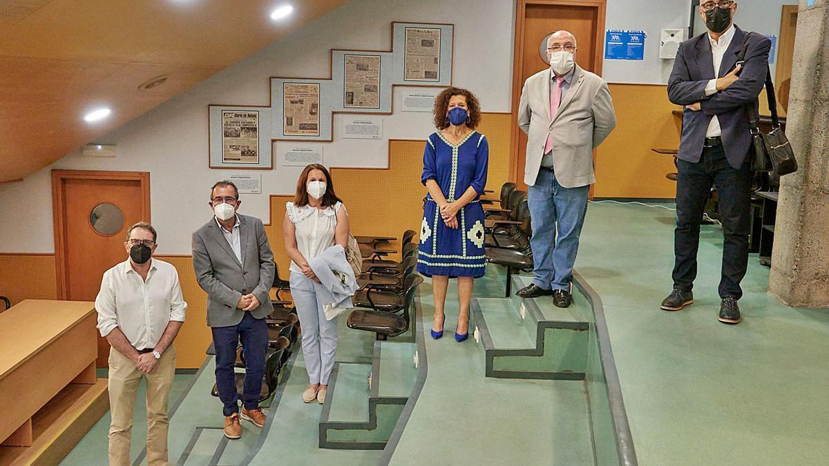 Galarza, Catalán, Rivero, Luis Brito, García Llanos y González, durante el acto de presentación celebrado ayer en el Heliodoro. | | CDT