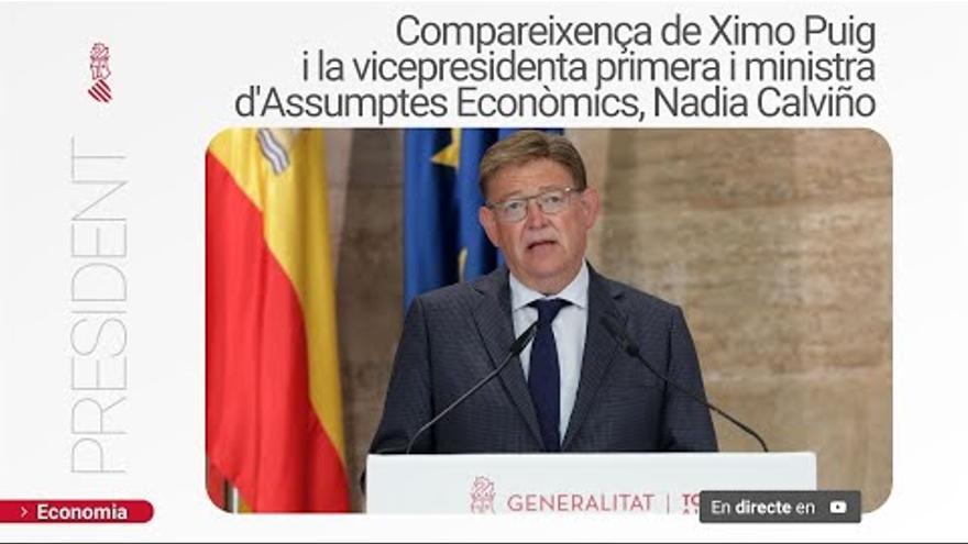 Rueda de prensa conjunta de Ximo Puig y la vicepresidenta primera del Gobierno, Nadia Calviño