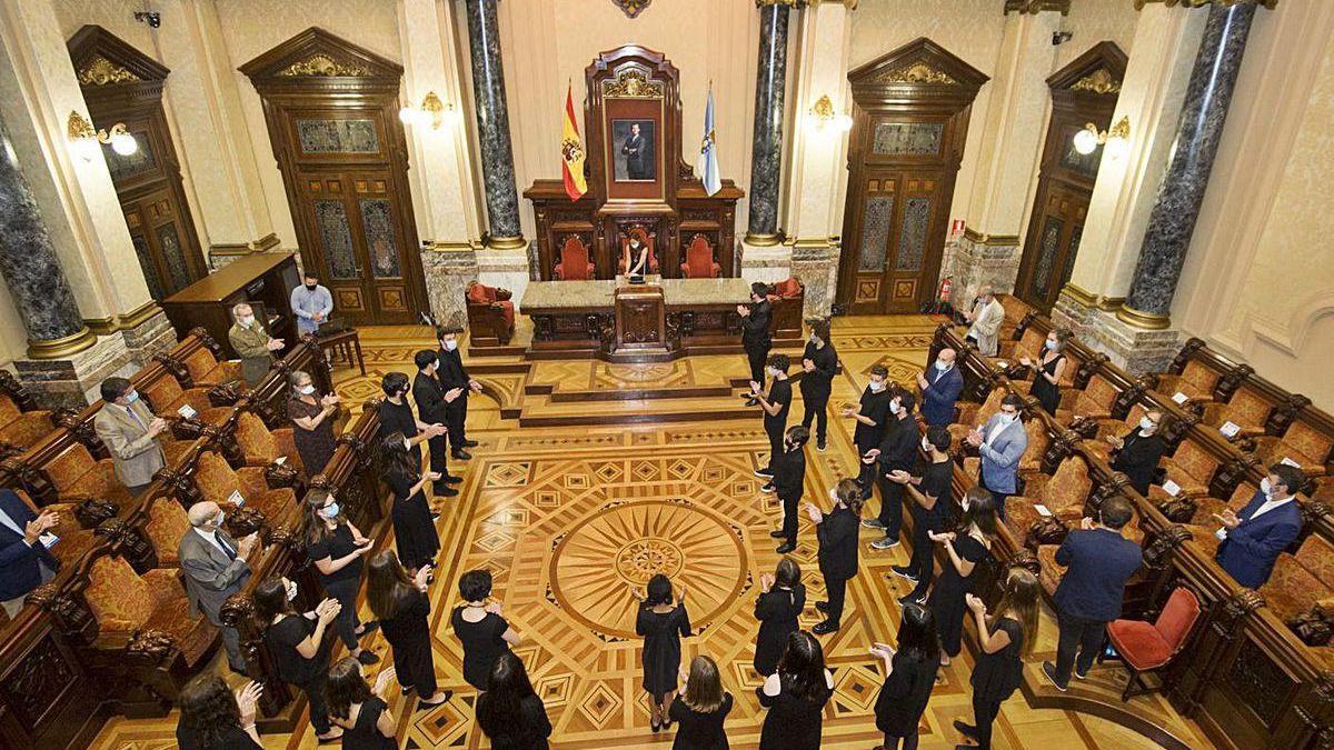 Acto de celebración del Día de Galicia, ayer en el salón de plenos del Concello.