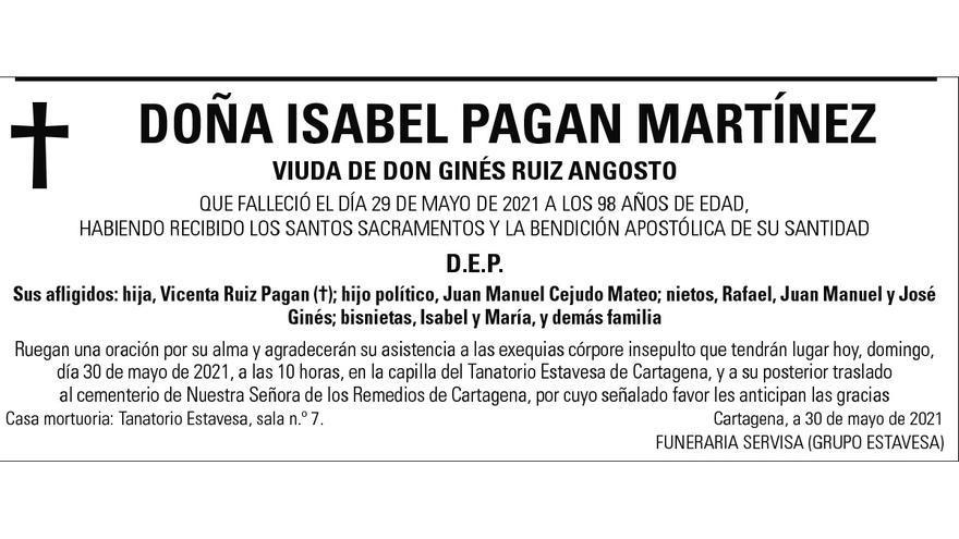 Dª Isabel Pagán Martínez
