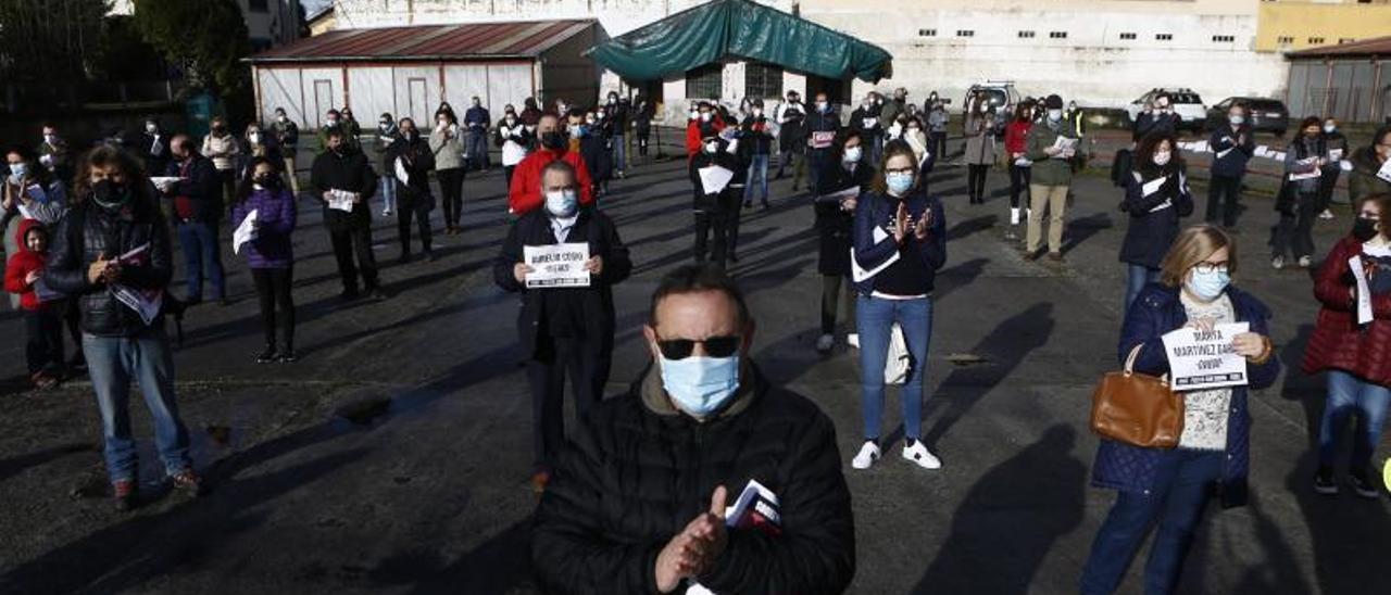La protesta organizada en Aller. | J. Rus