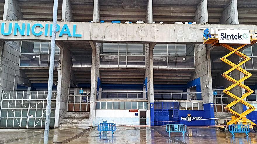 El Tartiere se sigue acicalando: la fachada incluirá el escudo del Oviedo y el nombre del patrocinador