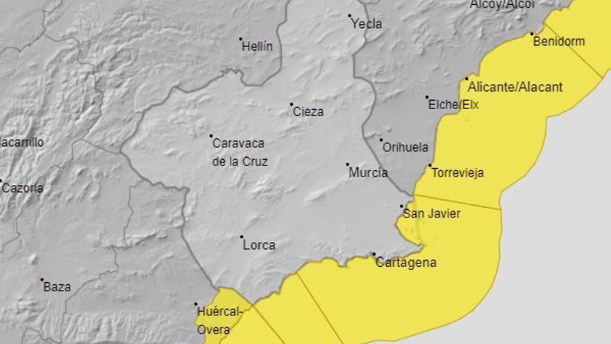 Alerta amarilla por vientos para este sábado en la costa murciana