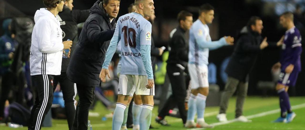 Aspas y Óscar García durante el partido de la pàsada temporada contra el Valladolid