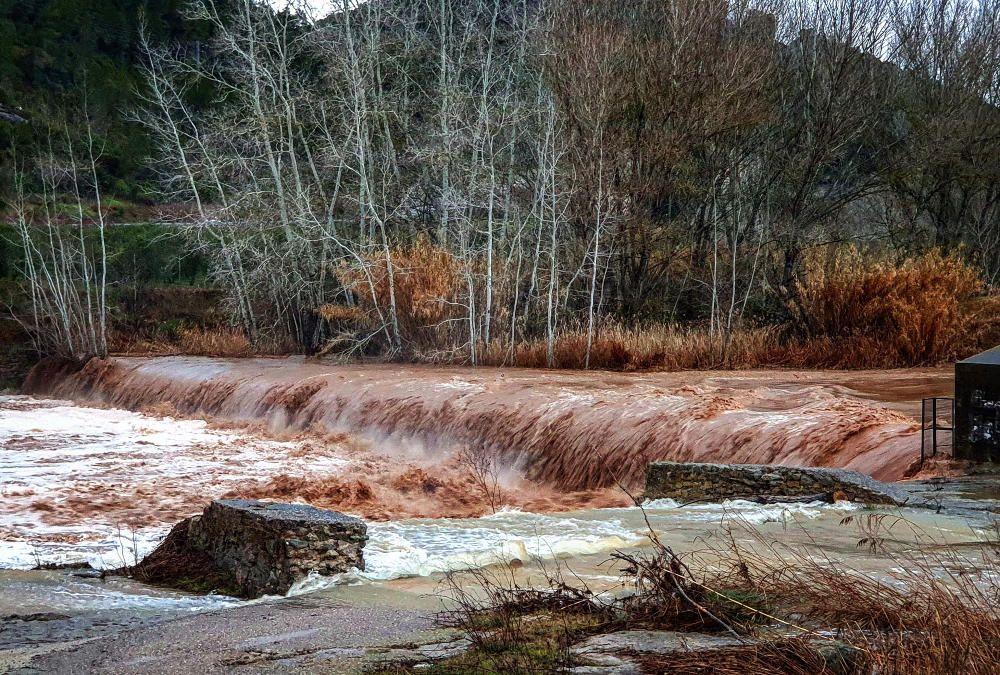 Així baixa el riu Llobregat al Pont de Vilomara i Rocafort, a causa del temporal Glòria.