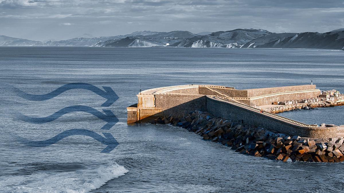 Dispositivu pa xenerar eletricidá coles foles del mar en Motrico (Guipúzcoa)