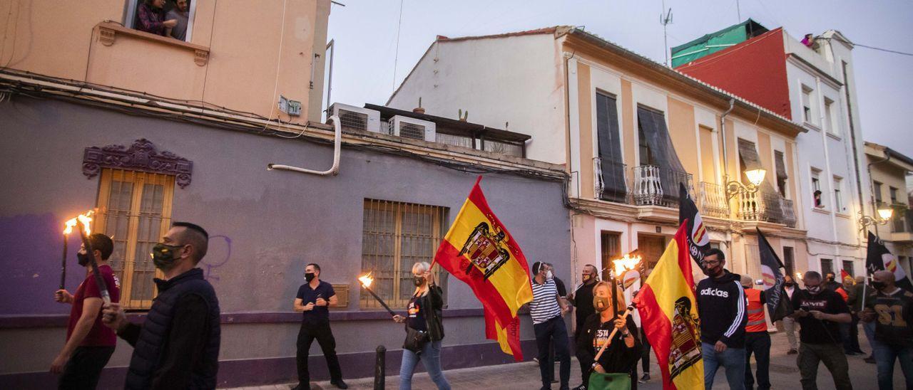 Una imagen de la marcha por las calles de Benimaclet.