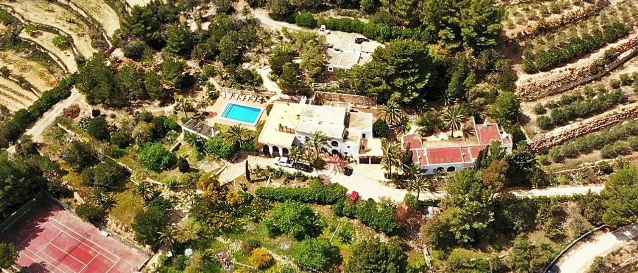 Imagen aérea de la mansión donde se celebraba la fiesta en Ibiza.