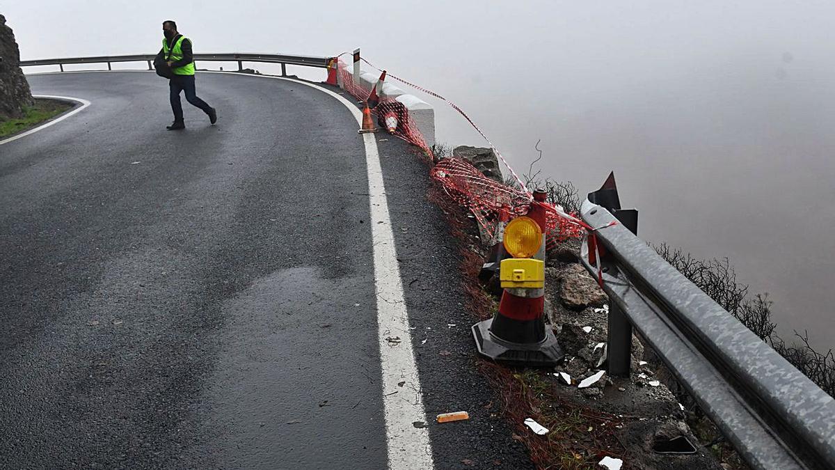 Curva en la que se produjo el accidente en los altos de Gáldar.