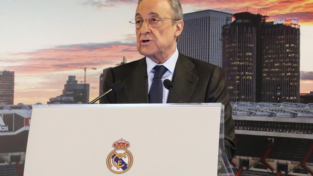 The president of Real Madrid, Florentino Pérez.