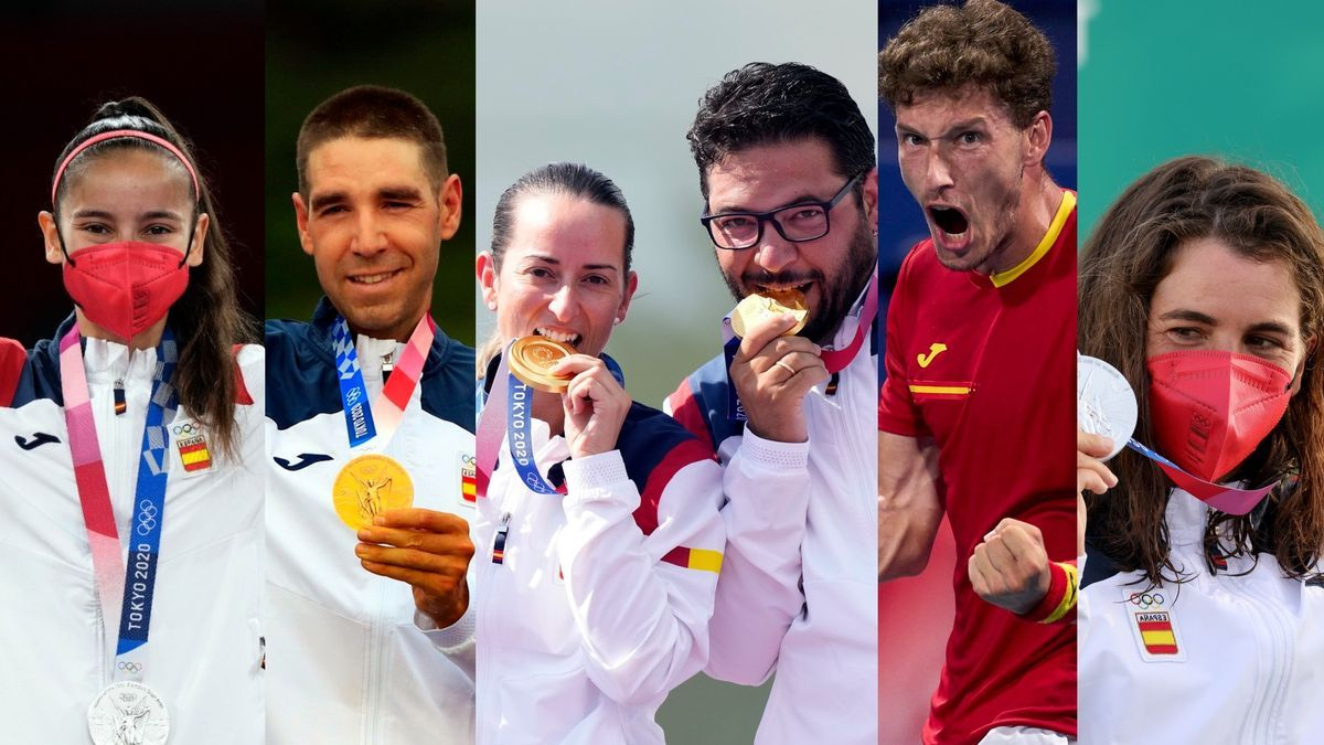 Adriana Cerezo, David Valero, Fátima Gálvez, Pablo Carreño y Maialen Chourraut, medallistas españoles tras los primeros ocho días de competición en TokIo 2020.