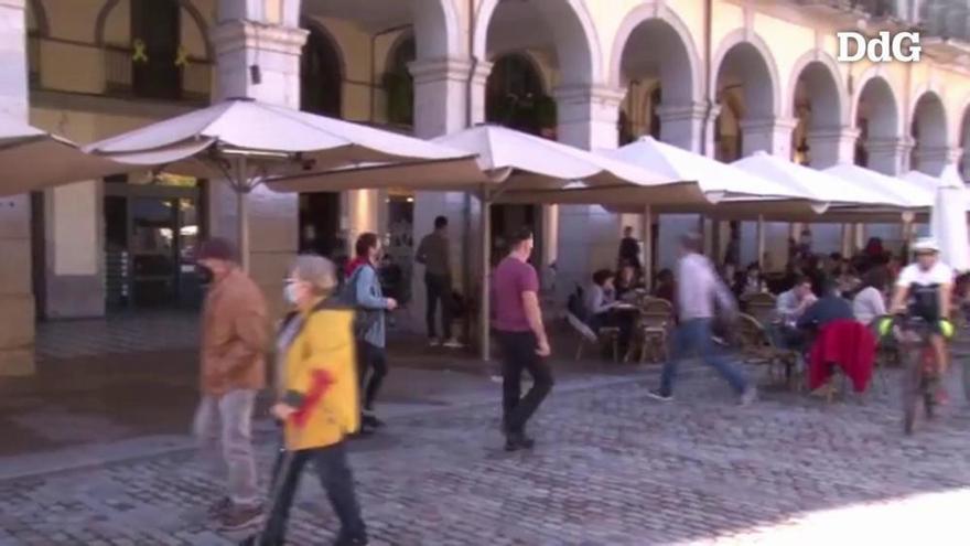 Les terrasses de Girona, plenes el primer diumenge de reobertura