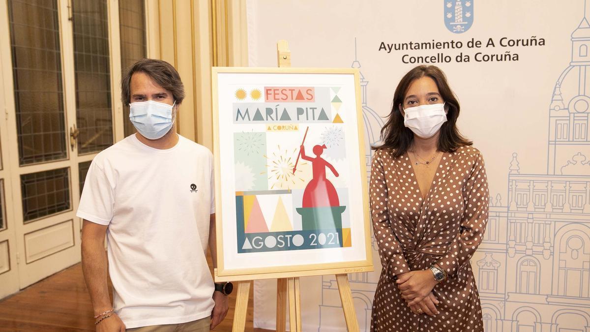 La alcaldesa Inés Rey y el autor del cartel, Hector Francesch, hoy, durante la presentación de las Fiestas María Pita A Coruña 2021.