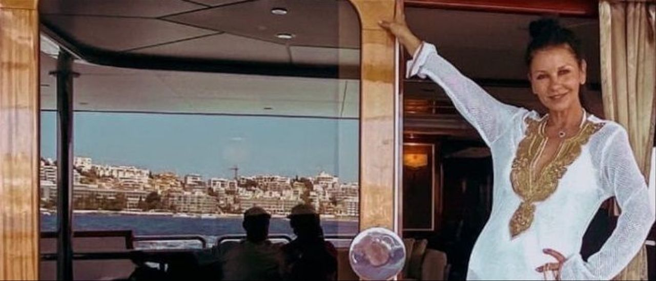Catherine Zeta-Jones a bordo de 'Il Sole' en Ibiza.