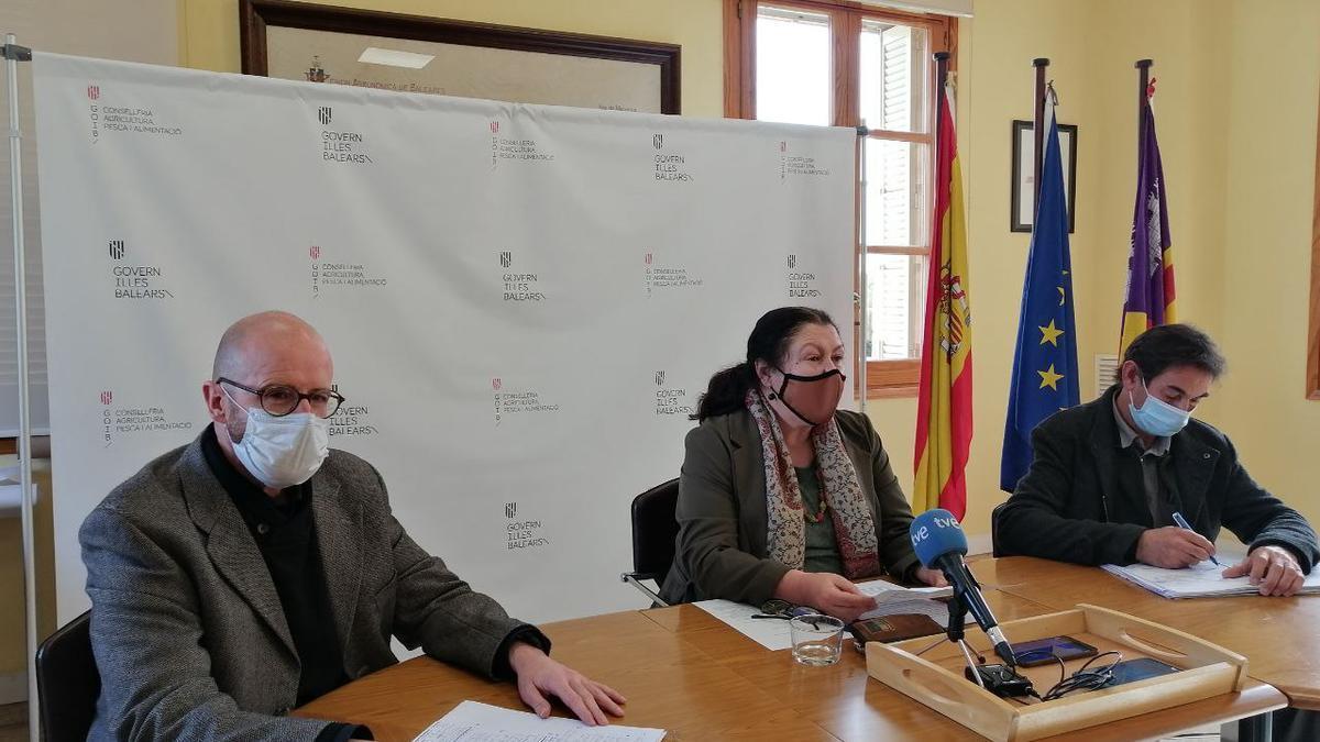 Los responsables de la conselleria de Agricultura, durante su comparecencia hoy en Palma.
