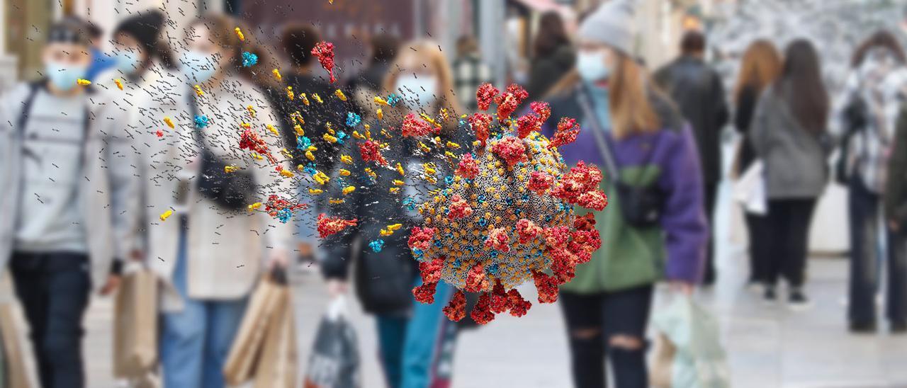Gente de compras por la calle Príncipe, en Vigo