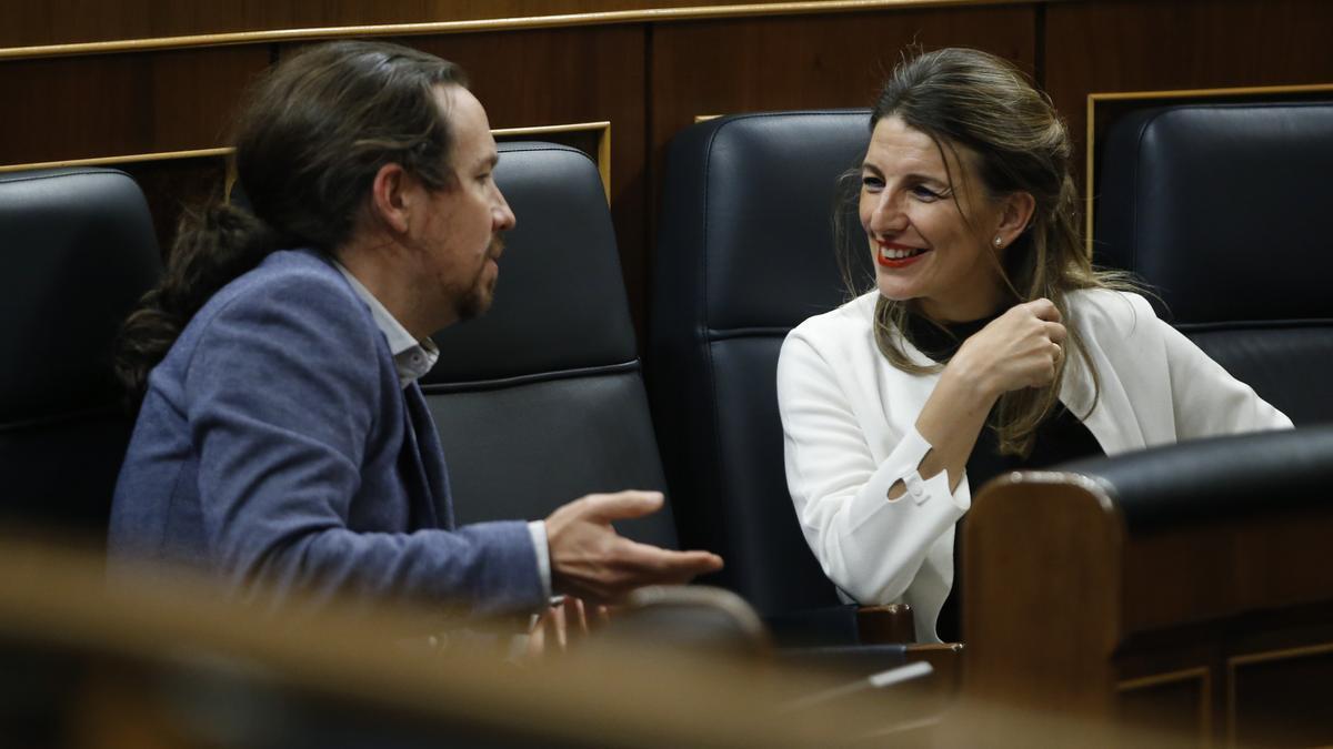 Pablo Iglesias y Yolanda Díaz en el Congreso