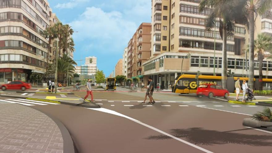 Fase II de la obra de la Metroguagua en la calle Luis Doreste Silva