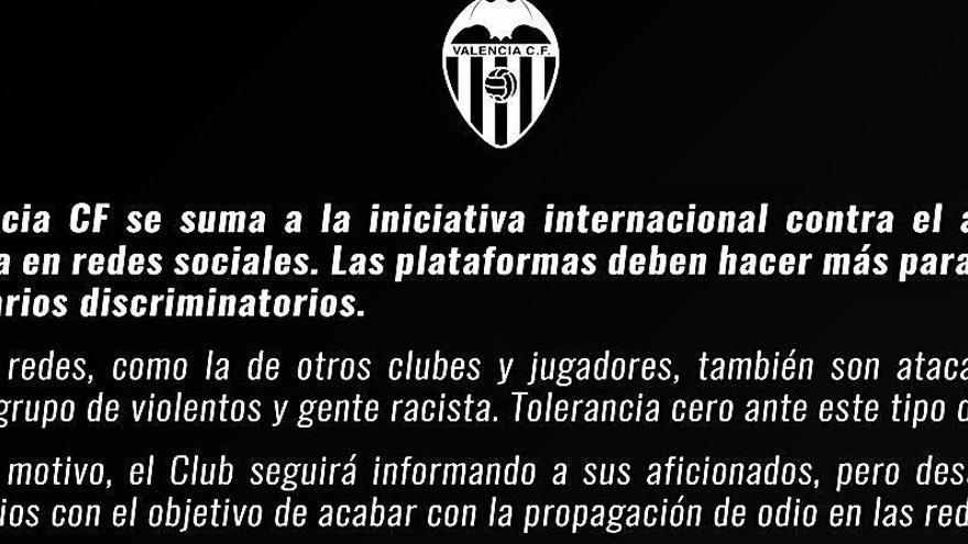 El Valencia CF desactiva los comentarios en sus redes sociales