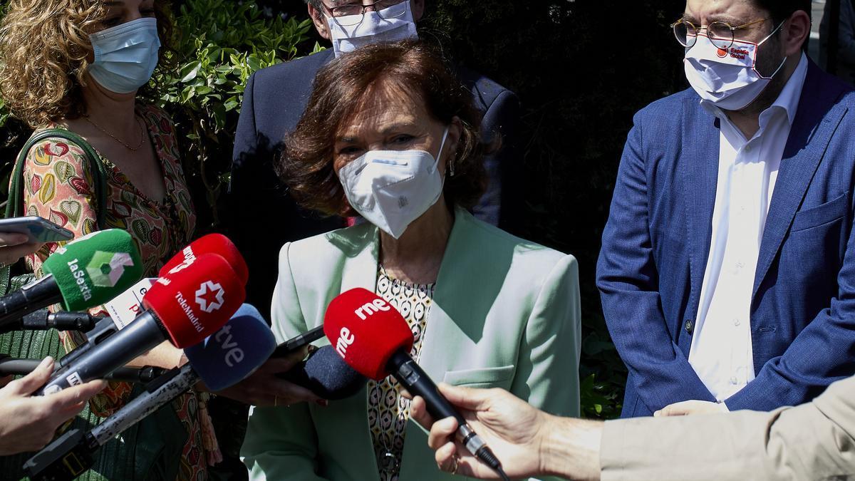 La vicepresidenta primera del Gobierno y ministra de Presidencia, Relaciones con las Cortes y Memoria Democrática, Carmen Calvo.