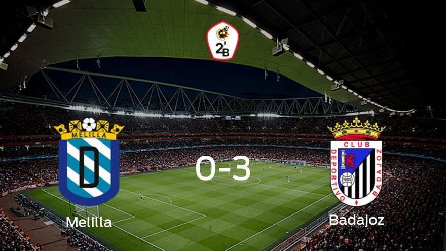 El Badajoz se lleva los tres puntos a casa tras golear al Melilla (0-3)